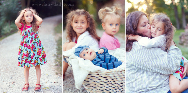 fairydaily, photos du famille, deux soeurs avec petit frere, bebe dans le panier