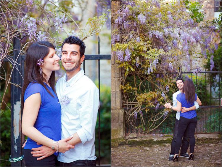 jeune couple francais dans sous le glycine