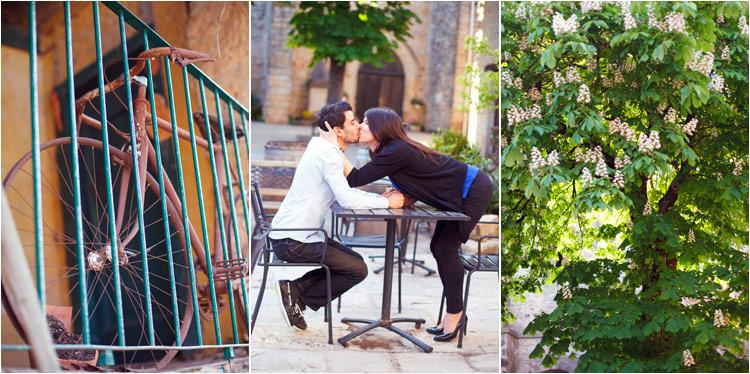un vieux velo, jeune couple s'embrasse dans le cafe, marronnier en fleur