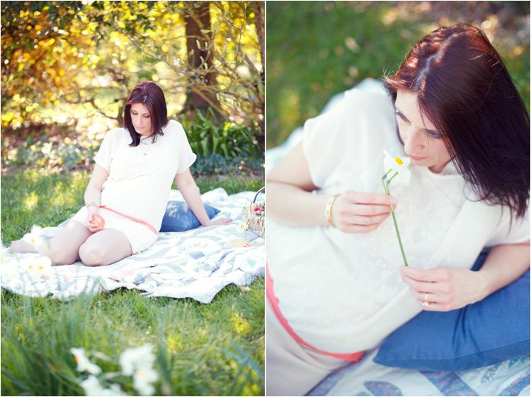 FairyDaily, future maman, robe blache, narcis, pique nique dans le jardin