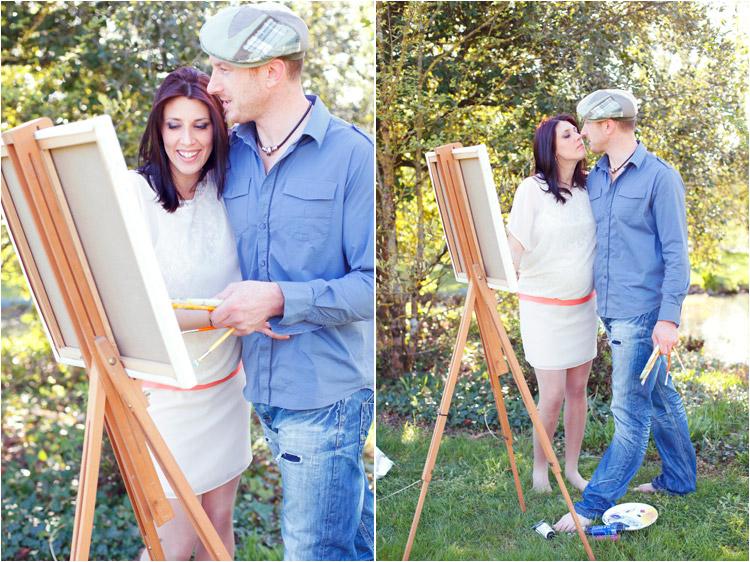 Elena Tihonovs, FairyDaily, belle future maman embrasse son amoureux peintre