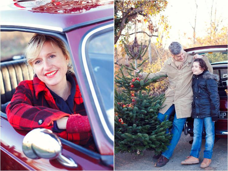 FairyDaily, Elena Tihonovs, photographe, famille, hiver, sapin de noel, voiture vintage, père et fils