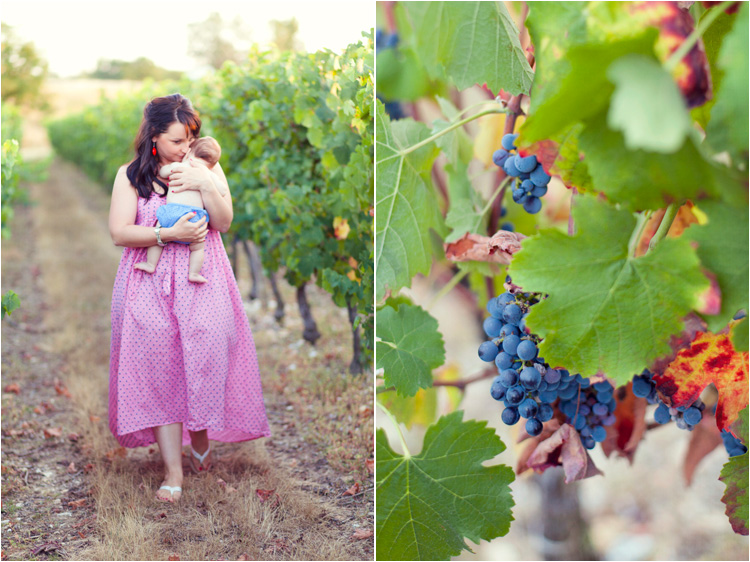 photo d maman avec son bébé dans les vignes